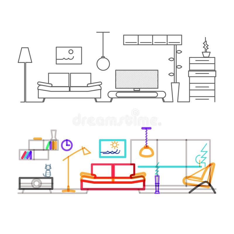 Тонкая линия плоский дизайн современной живущей комнаты иллюстрация штока