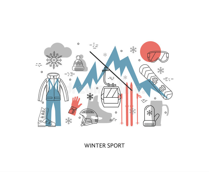 Тонкая линия плоский дизайн спорта зимы, бесплатная иллюстрация