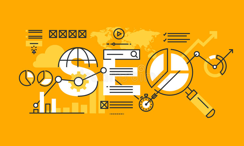 Тонкая линия плоское знамя дизайна оптимизирования поисковой системы бесплатная иллюстрация