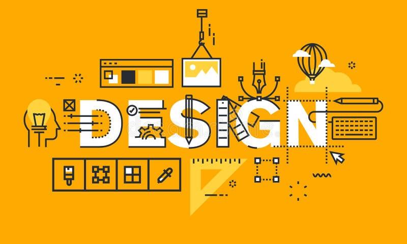 Тонкая линия плоское знамя дизайна решений графического дизайна бесплатная иллюстрация