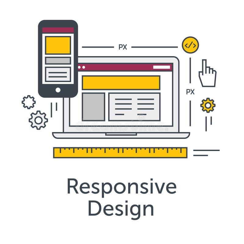 Тонкая линия плоское знамя идеи проекта для развития сети Отзывчивый значок дизайна Отзывчивая решетка вебсайта на компьтер-книжк иллюстрация вектора