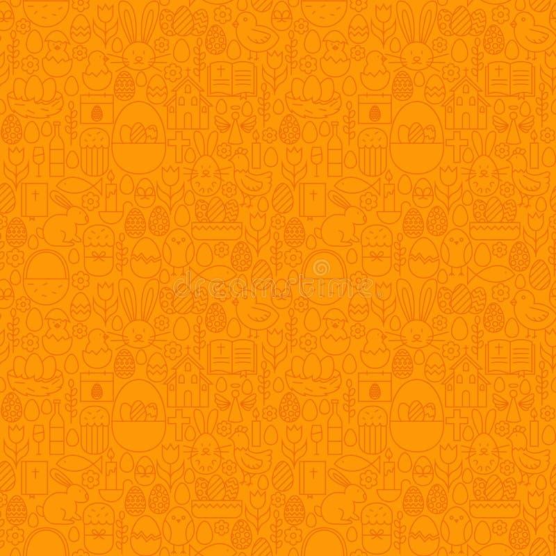 Тонкая линия счастливая картина пасхи оранжевая безшовная иллюстрация вектора