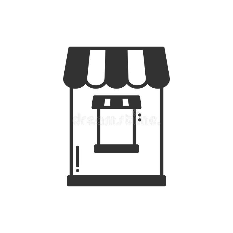 Тонкая линия установленные значки Касса, окно билета Киоск еды, вагонетка, передвижное кафе, магазин, торговая тележка Стиль вект иллюстрация штока