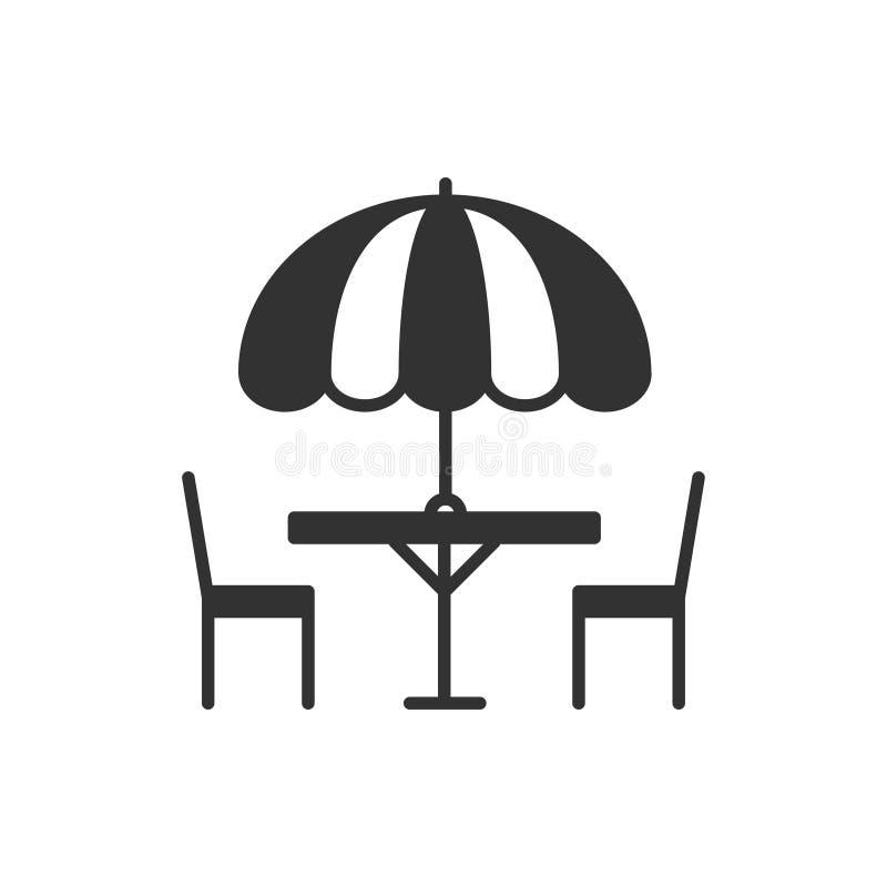 Тонкая линия установленные значки Таблица и стул снаружи outdoors Кафе улицы силуэта, знак ресторана Сервис связанный с питанием  иллюстрация штока