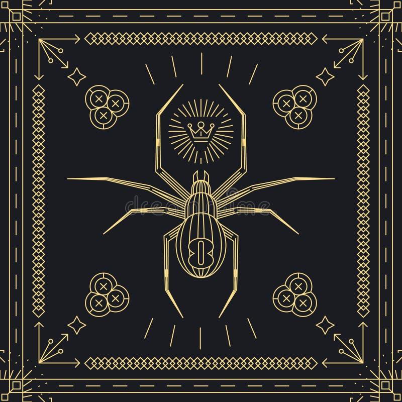 Тонкая линия ярлык битника паука бесплатная иллюстрация