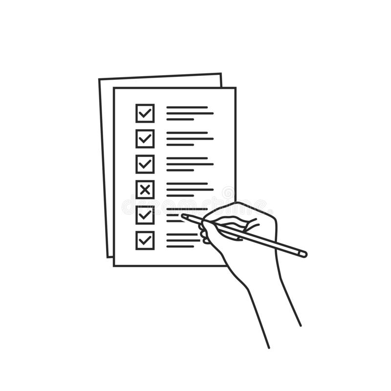 Тонкая линейка с задачей quiz или checklist иллюстрация вектора