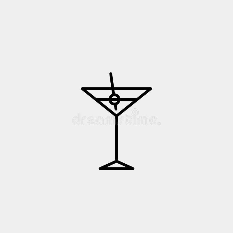 Тонкая линия знаки coctail для логотипа дизайна, карточки посещения, etc Пиктограмма плана coctail иллюстрация вектора