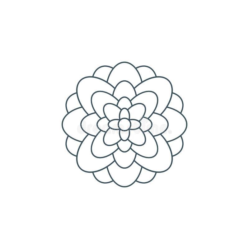 Тонкая линия логотип цветка, цветок символа жизни иллюстрация штока