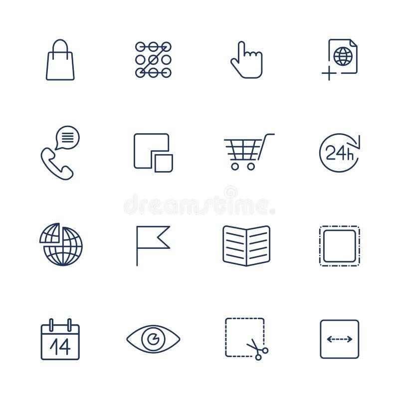 Тонкая линия набор значка Значки для сети, приложения, программы и другой иллюстрация вектора