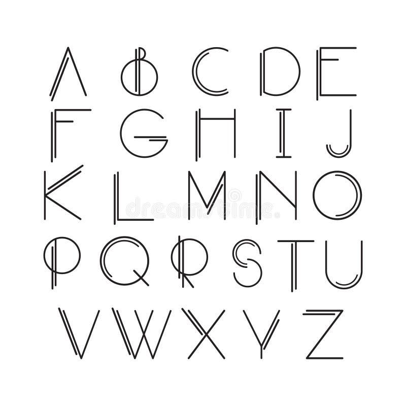 Тонкая линия стиль, линейный современный шрифт иллюстрация штока