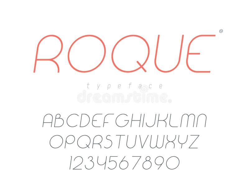 Тонкая линия uppercase шрифт Письма и номера латинского алфавита также вектор иллюстрации притяжки corel иллюстрация штока