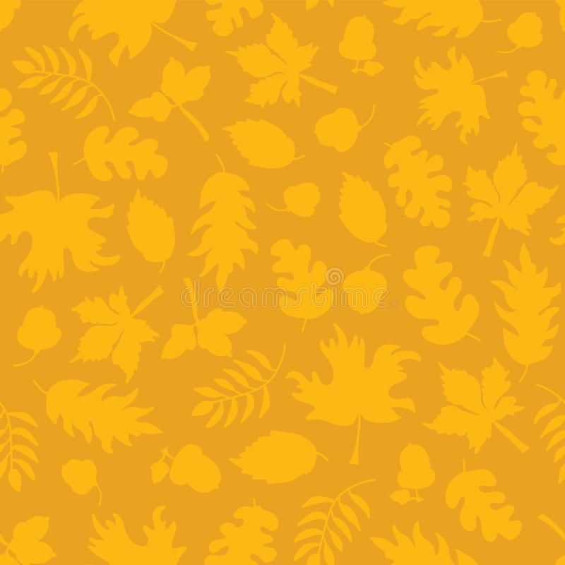 Тонкая предпосылка осени Падение выходит безшовная картина вектора Желтые силуэты лист на апельсине Жолуди мустарда, дуб, клен иллюстрация вектора