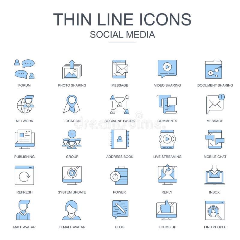Тонкие линейные иконки интернет-маркетинга и социальных сетей для веб-сайтов и мобильных сайтов и приложений иллюстрация вектора