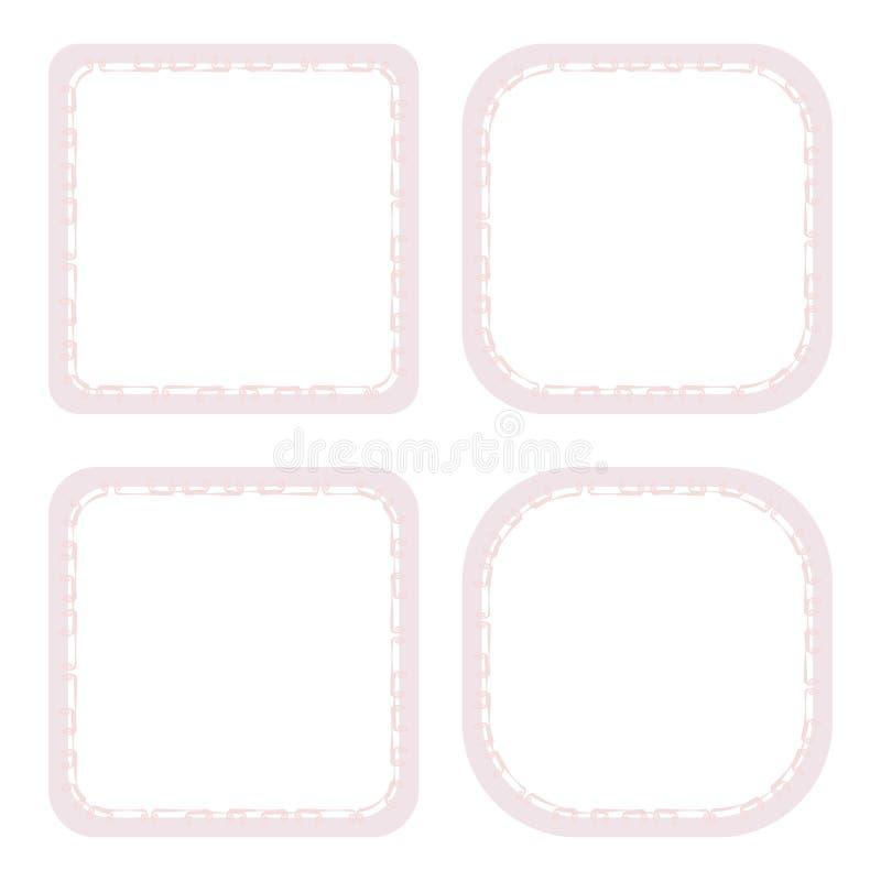 Тонкие розовые скручиваемости 4 квадратных хода границы рамки с тоном пинка тени возражают вектор изолированного на белой открытк иллюстрация штока