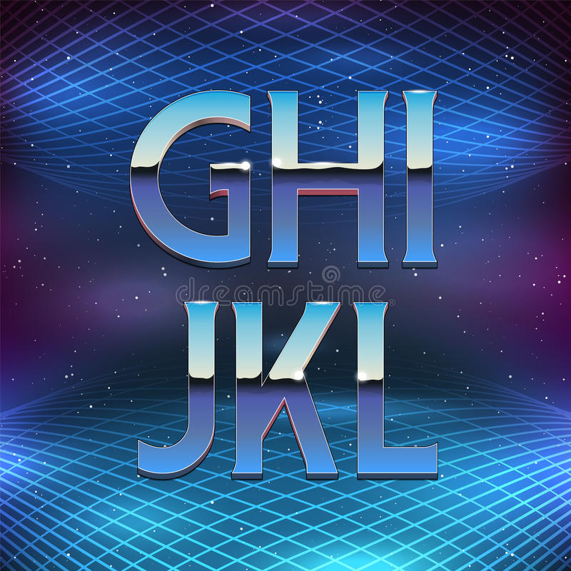 Тонкий алфавит хрома в ретро стиле Futurism 80s иллюстрация штока