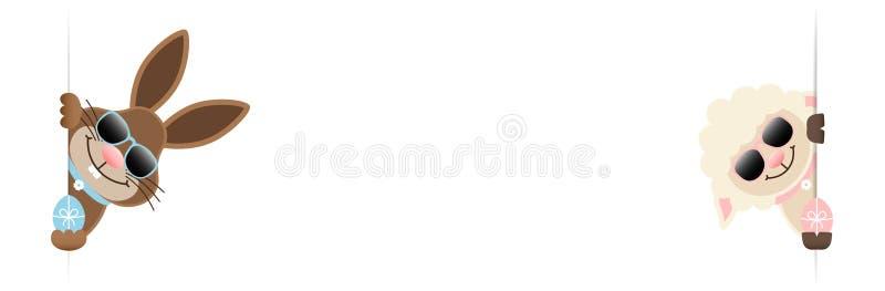 Тонкий зайчик и овцы пасхи знамени с яйцами и солнечными очками смотря внутрь иллюстрация штока
