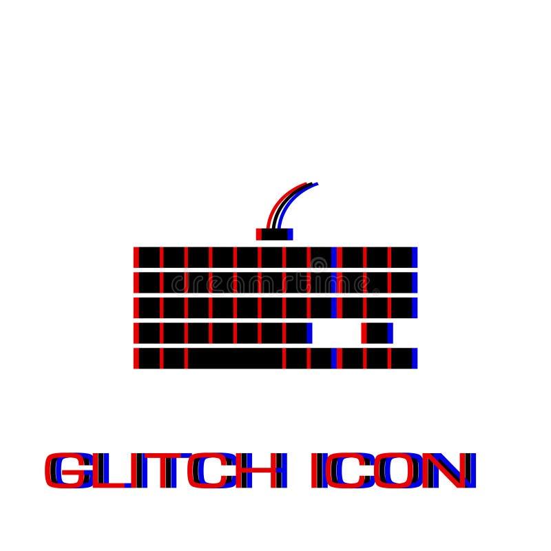 Тонкий значок клавиатуры компьютера плоско иллюстрация вектора