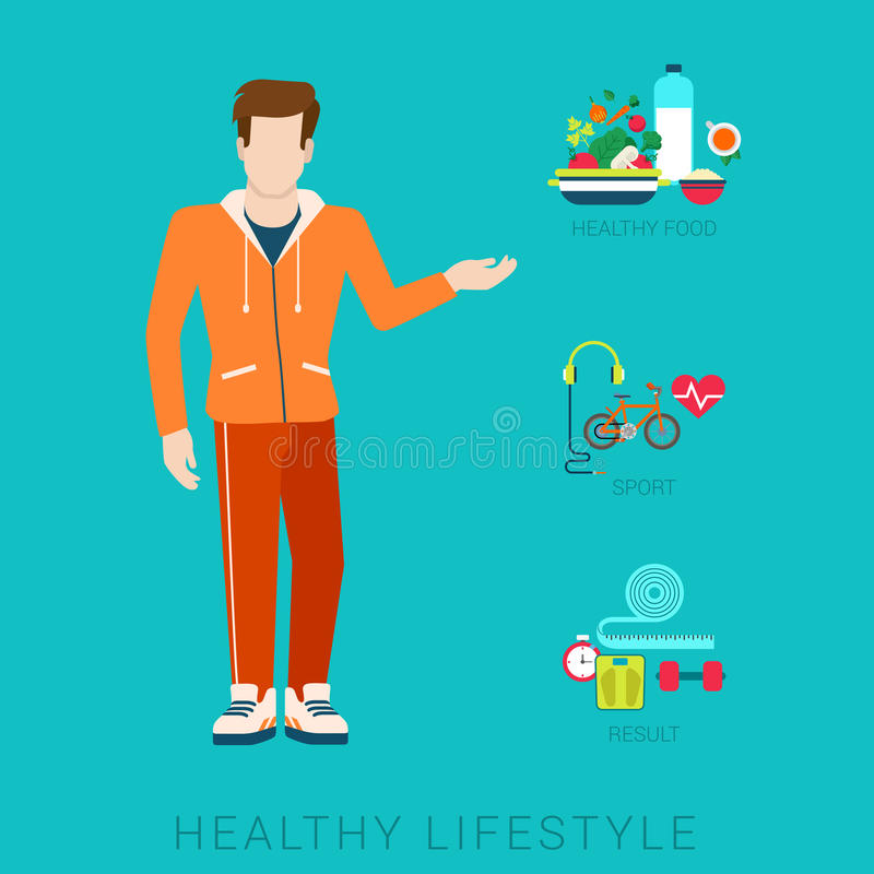 Тонкий здоровый вектор образа жизни плоско infographic: диета, спорт, еда иллюстрация вектора