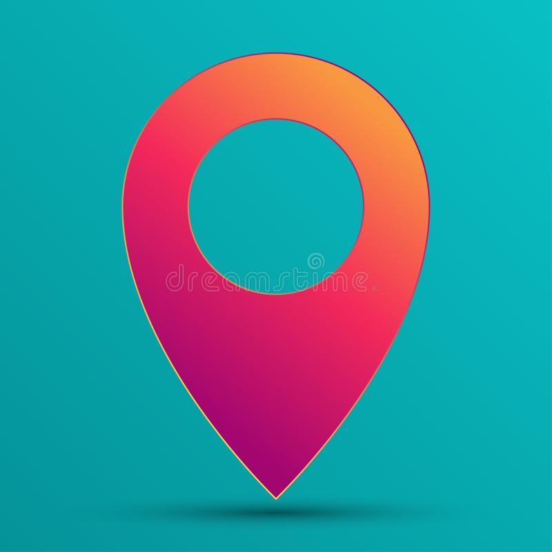 Тонкий розовый значок gps положения штыря цвета градиента моды Элемент формы геометрического места отметки красоты плоский Карта  иллюстрация вектора