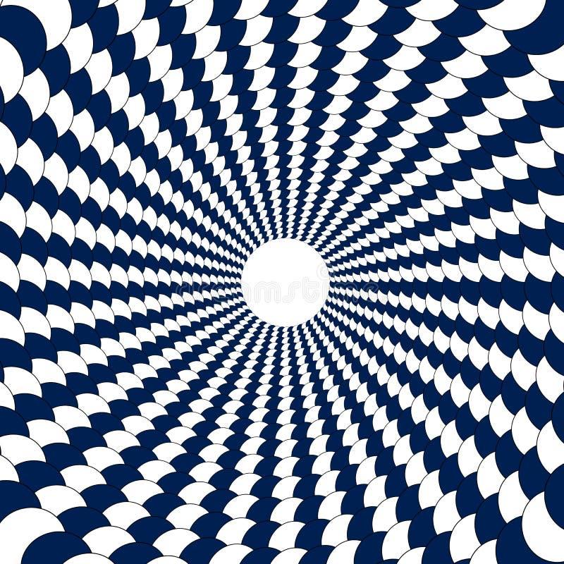Тоннель белых и голубых кругов, шариков выровнян вверх в circ иллюстрация штока