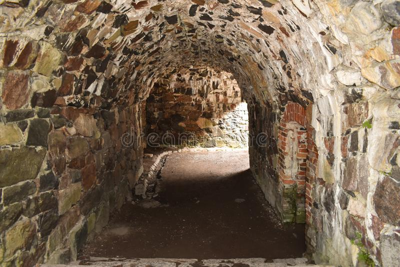 Тоннель или переходный люк булыжника стоковое изображение