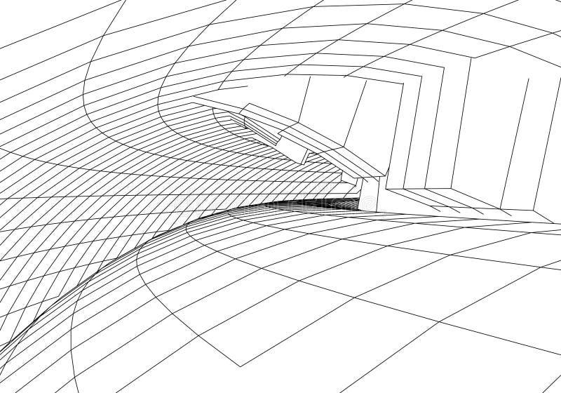 Тоннель или червоточина Тоннель wireframe цифров 3d решетка тоннеля 3D Технология кибер сети surrealism Вектор предпосылки абстра иллюстрация вектора
