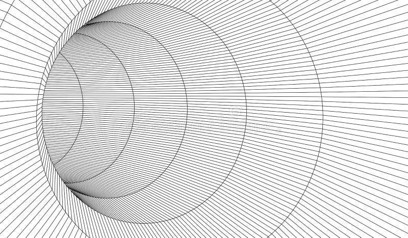 Тоннель или червоточина Тоннель wireframe цифров 3d решетка тоннеля 3D Технология кибер сети surrealism Вектор предпосылки абстра иллюстрация штока