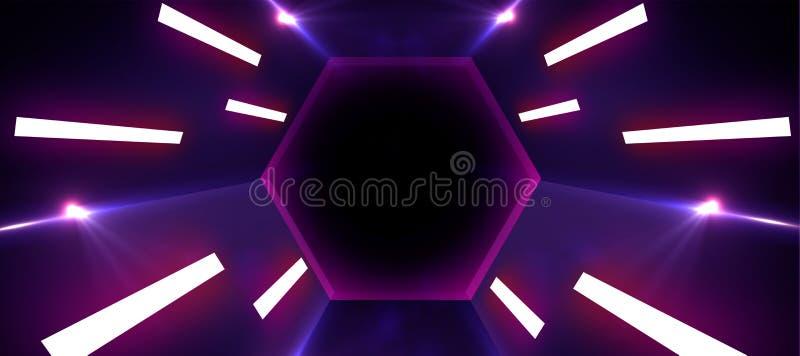 Тоннель неонового света иллюстрация вектора