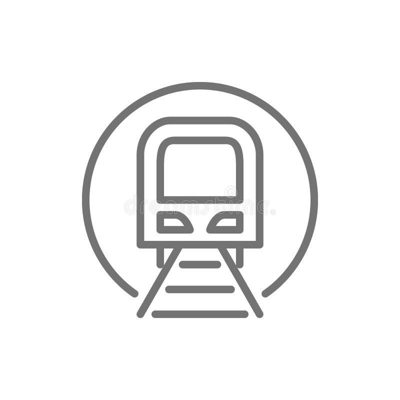 Тоннель со знаком поезда, метро, метро, линией значком железнодорожного вокзала иллюстрация вектора