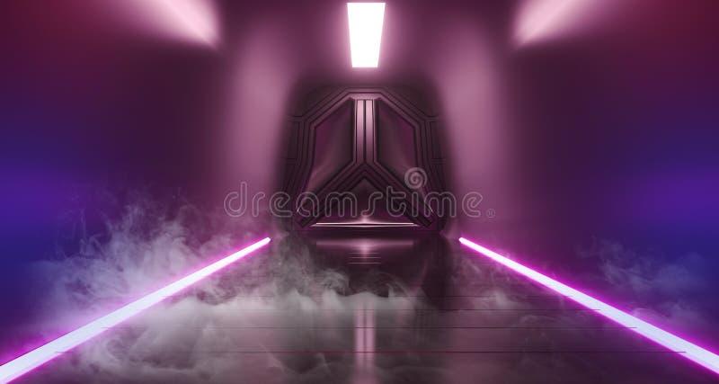 Тоннеля коридора корабля чужеземца комнаты Sci Fi дыма пурпура путей туманного современного футуристического пустого неоновая нак иллюстрация штока