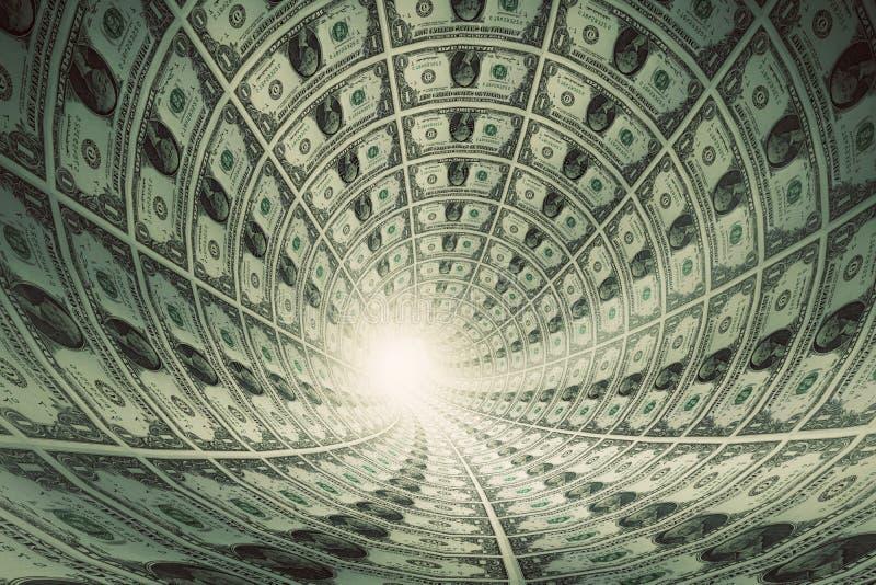 Тоннель денег, долларов к свету стоковая фотография