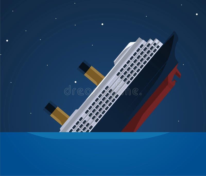 Тонуть иллюстрация корабля иллюстрация вектора