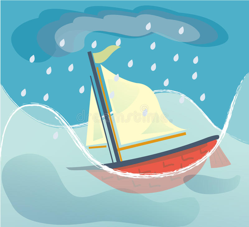 Тонуть корабль иллюстрация штока