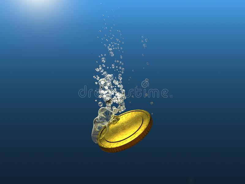 Тонуть падение валюты золотой монетки стоковые изображения