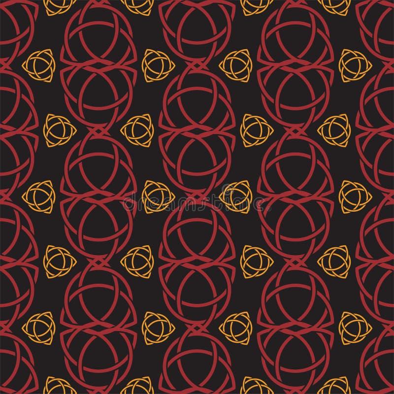 Тон безшовной картины трилистника Triquetra красный и оранжевый на черноте бесплатная иллюстрация