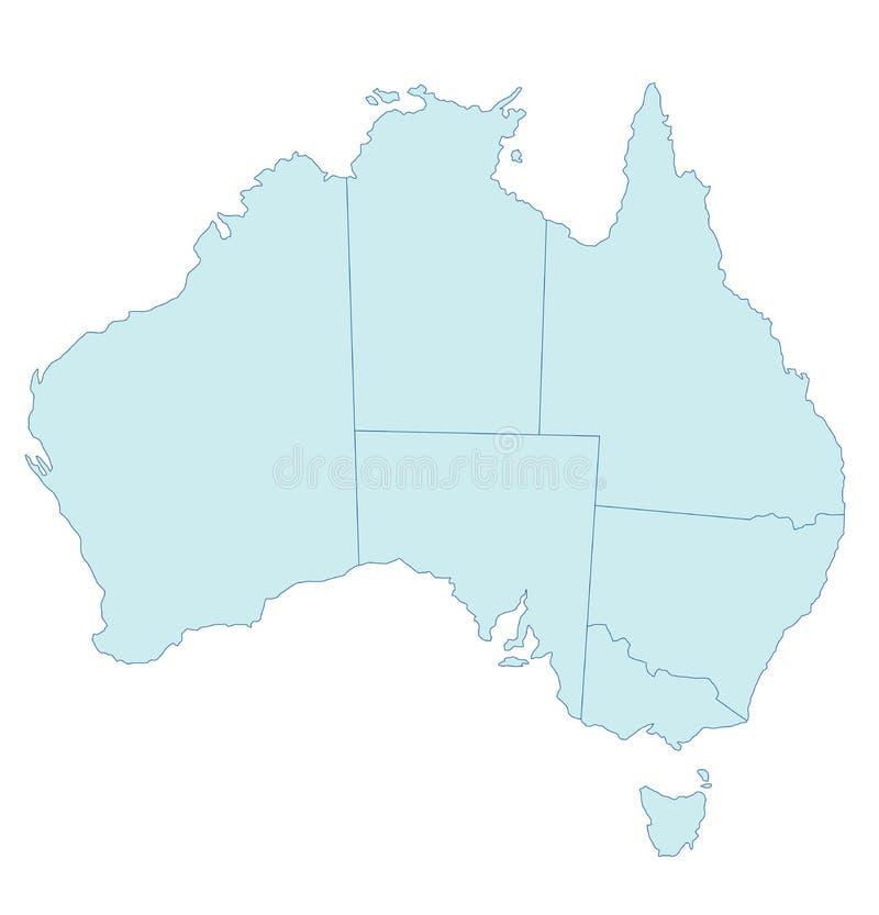 тон карты Австралии голубой иллюстрация вектора