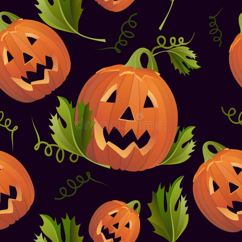 Тон темноты предпосылки тыкв хеллоуина безшовный иллюстрация вектора
