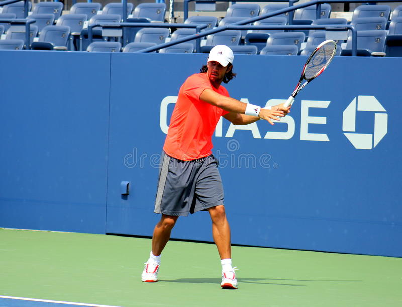 Профессиональные практики Фернандо Verdasco теннисиста для США раскрывают стоковое изображение rf