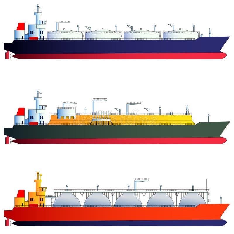 Топливозаправщики нефтяного танкера и газа, несущие ДОЛГОТЫ также вектор иллюстрации притяжки corel иллюстрация вектора