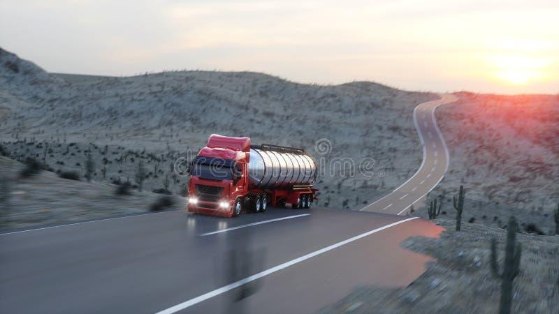 Топливозаправщик бензина, трейлер масла, тележка на шоссе Очень быстрый управлять перевод 3d иллюстрация штока