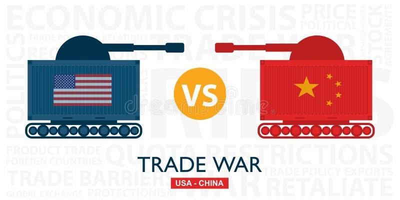 Торговая война, США против иллюстрации Китая Обмен дела тарифа Америк-Китая глобальный международный иллюстрация вектора