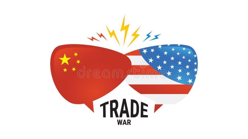 Торговая война, international обменом дела тарифа Америки Китая глобальный США против Китая сторона 2 пузырей речи к бесплатная иллюстрация