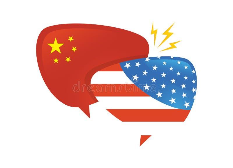 Торговая война, international обменом дела тарифа Америки Китая глобальный США против Китая сторона 2 пузырей речи к иллюстрация вектора