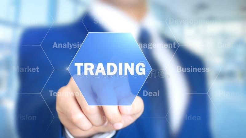Торговая операция, бизнесмен работая на голографическом интерфейсе, графиках движения стоковая фотография