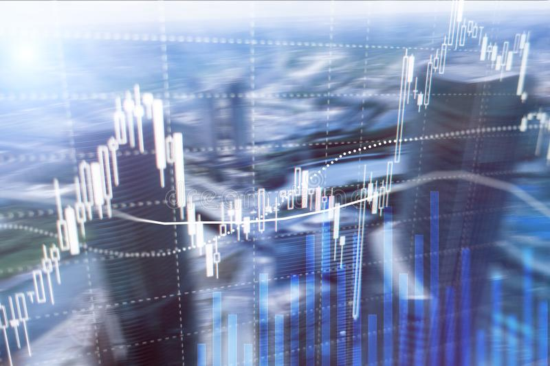 Торговая операция валют, финансовый рынок, концепция вклада на предпосылке делового центра бесплатная иллюстрация