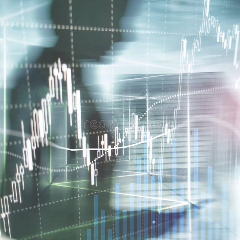 Торговая операция валют, финансовый рынок, концепция вклада на предпосылке делового центра иллюстрация штока