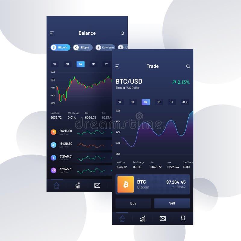 Торговая операция Cryptocurrencies, и обмен UI или концепция UX для Mobi бесплатная иллюстрация