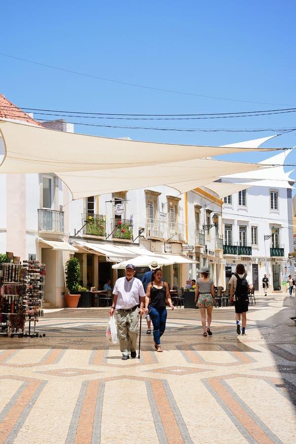 Торговая улица центра города, Faro стоковые фотографии rf