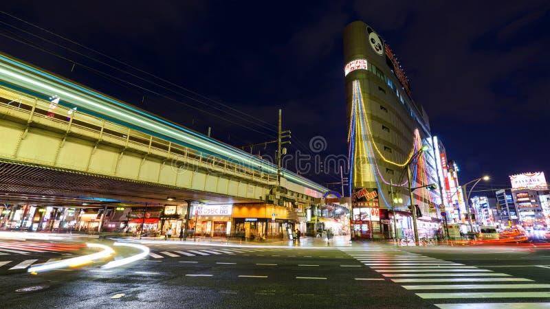 Торговая улица на ноче, токио Ameyoko стоковые фото