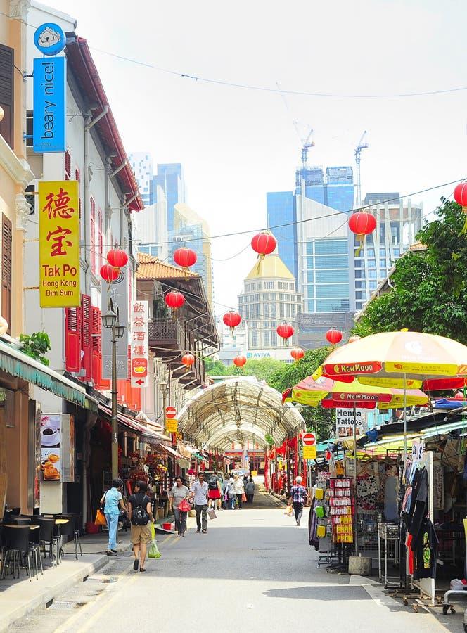 Торговая улица Сингапура Чайна-тауна стоковое изображение rf